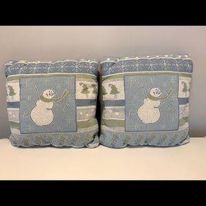 2 Snowman throw pillows